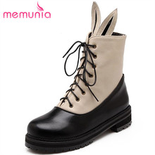 MEMUNIA New arrive autumn big size lace up Rabbit ear shape ankle boots mixed colors cute simple fashion college round toe(China)