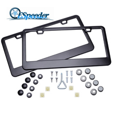 ESPEEDER 2PCS Stainless Steel USA/Canada License Plate Frame Tag Cover Holder Plate Front Rear Tag Cover With Screw Caps(China)