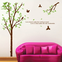 Animals Birds big tree vinyl wall stickers home decor living room bedroom sofa wallpaper mural home accessories wall decals(China)