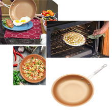 Nonstick Copper Frying Pan Non-stick Copper Skillet Cookware Oven & Dishwasher Safe Ceramic Pan Frying Red Pans(China)