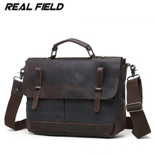 Real Field Genuine Leather Men Tote Bag Messenger Crossbody Bag Fashion Male Satchels Briefcase Vintage Cowhide Shoulder Bag 257