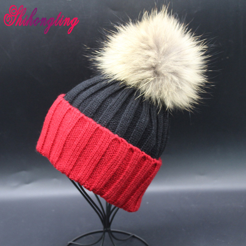 Color Patchwork Beanies Hats 2017 New Genuine Raccoon Fur Caps 15cm Big Ball Winter Curling Knitting Hat Warm Wholesale ZZM008Одежда и ак�е��уары<br><br><br>Aliexpress