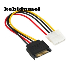 kebidumei 1pcs 15pin 15P Sata Serial ATA Male to Molex IDE 4 Pin Female M-F Hard Drive Adapter Power Cable Line Power