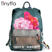 Tinyffa floral mini backpack women back pack designer backpacks for teenage girls school bag small canvas backpack chain bagpack