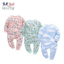 HHTU 2017 New Arrivals Baby Rompers Cotton Baby Boys Girls Clothing Long Sleeve Infant Jumpsuits Newborn Rabbit Pink Blue Autumn(China)