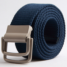2014 Men Canvas Belts High Quality Male Strap Wide Belt Double loop fastener Belt buckle(China)