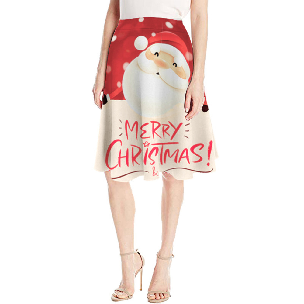 Women Casual Christmas Santa Printed Elastic High Waist Cosplay Ball