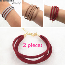 SINSHI New Trendy 2 Pieces Leather Bracelets For Women Jewelry Simple Brown Redwine Gray DIY Bracelets& Bangles Collier Femme