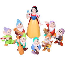 Disney Toys 8pcs/Set Princess Snow White And Seven Dwarfs Pvc Action Figures Collectibles Dolls Cartoon Figurines For Kids Gift(China)