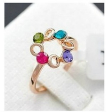 2016 Korean Fashion Jewelry Most Unusual Happiness Ferris Wheel Color Female Imitation Crystal Ring Wholesale