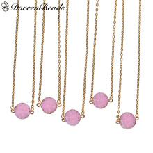 "DoreenBeads Resin Druzy Necklace Link Cable Chain gold color Pink Round 41.5cm(16 3/8"") long, 1 Piece"