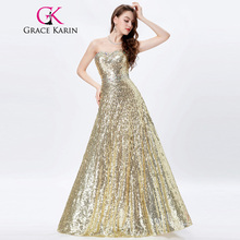 Grace Karin Long Golden Sequin Evening Dresses 2017 Strapless Wedding Party Formal Evening Prom Gowns Special Occasion Dresses