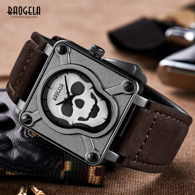 Watches Men Baogela Luxury Brand Super Luminous Men Sports Watches Leather Strap Square Dial Skull Male Quartz Wrist watches(China)