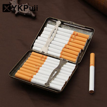 Cigarette Case with Gift Box for 20pcs Vintage Metal Cigarette Case with Gift Box Metal Cigarette Accessories(China)