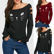 Buy Women's Cat Cold Shoulder Loose Casual Long Sleeve Shirt Tops Clothes Tshirt Tops Youthful Style Patterns Women T-shirt Top Tees for $7.67 in AliExpress store