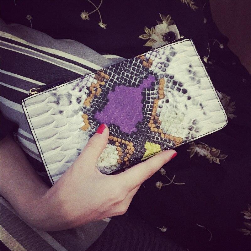 European Style Women Genuine Leather Wallets Zipper Coin Purse Luxury Serpentine Cell Phone Purse Holder For Women Phone Pocket<br><br>Aliexpress