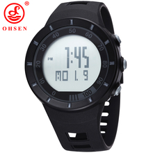 OHSEN New 2017 Sport fashion mens wristwatches swimming diving black Rubber Band military electronic LED watch Relogio Masculino(China)