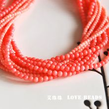 "wholesale natural dyed coral pink 2mm 3mm 15""/38cm seed beads jewelry making crafts findings for women DIY(China)"