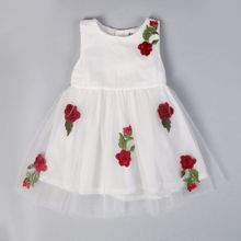 Summer Sleeveless Cotton Baby Girls A-Line Style Embroidery Rose Princess Dress Floral Dresses