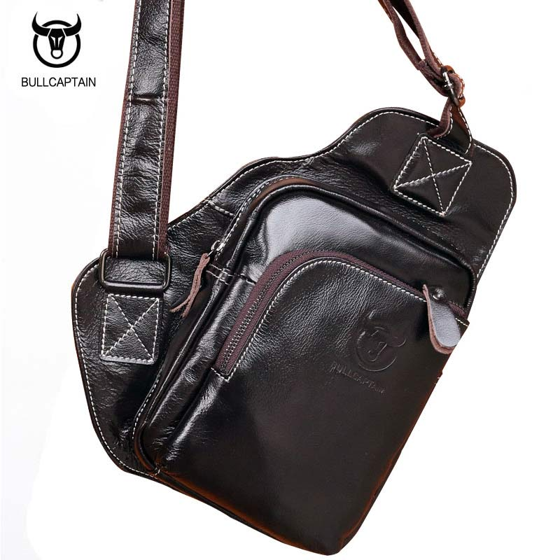 Men Casual Genuine Leather Chest Bag Travel Bat Type Men Messenger Bags Vintage Mens Designer Cowhide Shoulder Crossbody Bag <br>