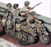 1/35 Resin Figure Model Kit WWII U.S. 4 figures (NO motorcycle )Unassambled Unpainted(China)