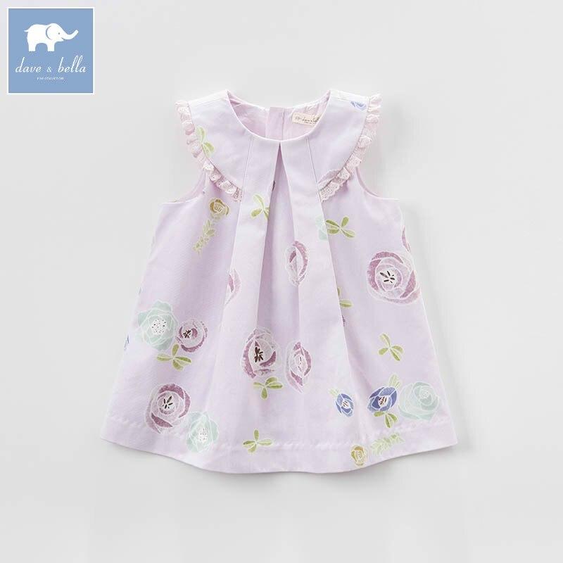 DB7297 dave bella spring infant baby girls fashion rose print dress kids floral dress children party birthday clothes <br>