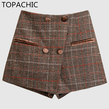 Topachic Irregular Spring Shorts Skirts for Women Plaid High Waist Shorts Female All Match Ladies Short Pants with Zipper(China)