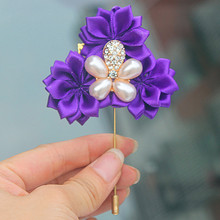 Color Optional 5pcs/lot Romantic Purple Satin Flowers Wedding Corsage Groom Boutonniere Brides Wedding Dress Brooches(China)