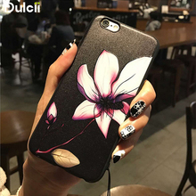 Dulcii for iPhone 6s Case Embossed Flower Pattern Matte TPU Mobile Phone Case for iPhone 6s / 6 - Lotus(China)