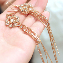 Brilliant quality Ladies Ferris Wheel Party Crystal Long Tassels Rhinestone Hook Dangle Linear Earrings 5CYB(China)