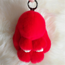 New Rabbit Keychain Cute Fluffy Bunny Keychain Rex Genuine Rabbit Fur Pompom Key Ring Pom Pom Toy Doll Bag Charm Car Key Holder
