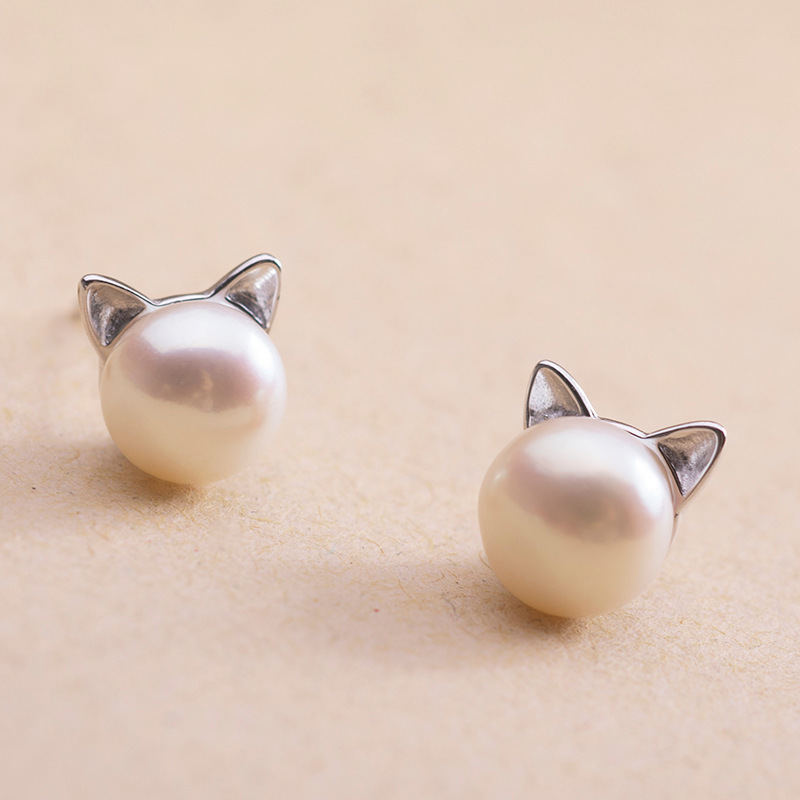 New Fashion 925 Sterling Silver Imitation Pearl Cat Stud Earrings Jewelry For Women Girl Pendientes Plata Brincos Free Shipping(China (Mainland))