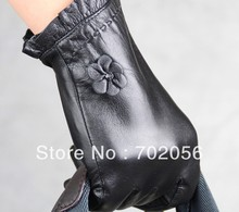 womens florwer Genuine Leather gloves skin gloves LEATHER GLOVES 12pairs/lot #3133