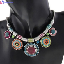 Fashion Choker Necklace 2016 New Ethnic Vintage Silver Plated Colorful Bead Pendant Stat necklace(China)