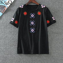 2017 Ky&Q Luxury Brand Women'S Pure Short Sleeve Tops Casual Shirt Lucky Clover Embroidery Black White T-shirt Clothing(China)