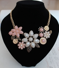 Pink/White Flower Clavicle Chokers Necklace Girl's Lovely Wedding Jewelry Synthetic Gemstone Pendant&Necklace