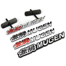 1 PCS 3D MUGEN grille Emblem Chrome Logo Rear Badge Trunk Car StickerS for Civic Accord CRV FIT Car Styling