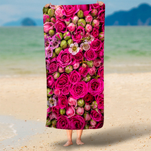 IKathoME 3D Wedding Rose Flowers Print Rectangle Microfiber Beach Throws Towel,Euro Home Decor Yoga Mat Blanket Red -75x150cm