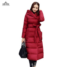 Sale Winter Coat Women Long Cotton Outerwear 2017 New Wadded Warm Pure Color Big Yards Winter Jackets Female Down Parkas OK40S(China)