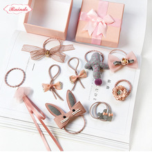 [1set=7pcs]Raindo 201 Kids Hair Accessories Hot Style Headwear Delicate Box package Hair Ropes Elastic Rubber Ropes Hairbands(China)
