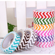 Hot Sale Washi Cotton Fabric Tape 15mm Roll Decorative Wave Paper Making Sticky Adhesive Craft Gift