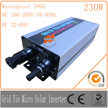 230W 22-60VDC 190-260VAC, Waterproof IP65Grid tie micro solar inverter with on grid PV inverter can used with 300W PV panel