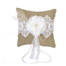 20*20cm Bridal Wedding Ceremony Pocket Ring Bearer Pillow Cushion With Satin Ribbons(China)