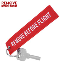 Remove Before Flight Key Chain Chaveiro Red Embroidery Keychain Ring for Aviation Gifts OEM Key Ring Jewelry Luggage Tag Key Fob