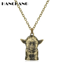 Fashion Jewellery Star Wars Necklace Master Figure 3D Yoda Pendant Necklace Men Women Vintage Charms Choker Necklace(China)