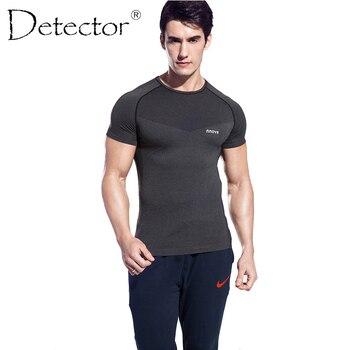 Detector Men sport fitness culturismo crossfit gimnasio camiseta hombres lycra medias de compresión running baloncesto bajo tee tops