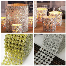 Retail 1Yard/91.5cm 6Rows Sunflower Diamond Mesh Bling Crystal Ribbon Trim Wedding Party Cake Candle Home Decoration(China)