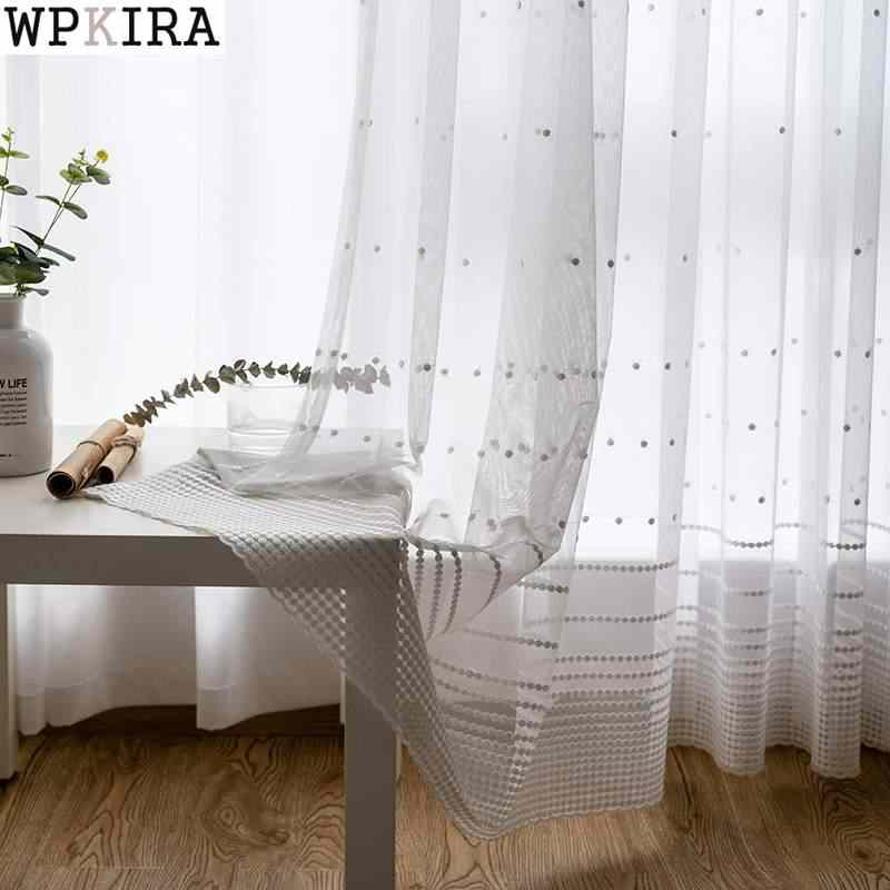 White Vertical Strips Small Flower Tulle Panel Pastoral Lace Gauze Window Sheer Mesh Fabric Curtains For living room S236&30