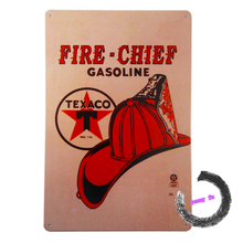 "Tin Metal Signs ""Texaco Fire Chief"" Gasoline Motor Oil Motel Store Garage Wall Decor A54"