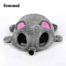 Gomaomi Grey Mouse Shape Bed for Small Cats Dogs Cave Bed Removable Cushion,waterproof Bottom Most Lovely Pet House Gift for Pet(China)